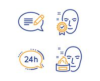 24h service, Face verified and Message icons set. Face cream sign. Call support, Access granted, Speech bubble. Vector. 24h service, Face verified and Message stock illustration