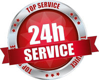 24h service. A 24h service label illustration, non stop services Stock Photo