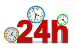 24h Service. Red Text with Colorful Round Wall Clocks on White Background 3D Illustration Royalty Free Stock Photo