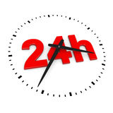 24h Service. Red Text inside Round Wall Clocks on White Background 3D Illustration Stock Photography