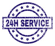 Scratched Textured 24H SERVICE Stamp Seal. 24H SERVICE stamp seal watermark with grunge texture. Designed with rectangle, circles and stars. Blue  rubber print Stock Photo