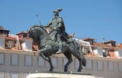 H?ststaty av Dom Joao i Lissabon i Portugal fotografering för bildbyråer