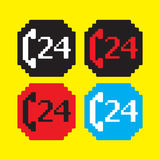 24 h support icon. 24h support icon, vector illustration Royalty Free Stock Images