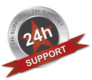24h support silver badge web icon. 24h support silver badge icon Royalty Free Stock Images