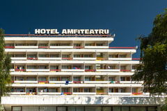 Hôtel Amfiteatru dans la station de vacances d'Olimp Image stock