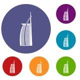 Hôtel Burj Al Arab dans des icônes des Emirats Arabes Unis Photographie stock libre de droits