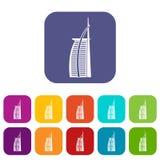 Hôtel Burj Al Arab dans des icônes des Emirats Arabes Unis réglées Photo libre de droits