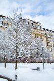 Hôtel dans la ville de Chamonix dans les Alpes français, Frances Images libres de droits
