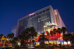Hôtel de flamant la nuit à Las Vegas, nanovolt le 13 juillet 2013 Photos libres de droits