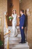 Hôtel de marié de jeune mariée d'étapes Photographie stock libre de droits