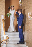 Hôtel de marié de jeune mariée d'étapes Images stock