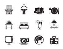 Hôtel de silhouette, motel et icônes de vacances Image stock