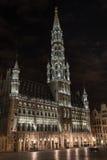 Hôtel de ville de Bruxelles - Belgique (nuit tirée) Images libres de droits