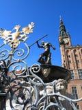 Hôtel de ville de fontaine de Neptune à Danzig, Pologne Photographie stock