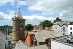 Hôtel de ville de Launceston et château, les Cornouailles Images libres de droits