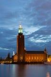 Hôtel de ville de Stockholm au crépuscule Photos libres de droits