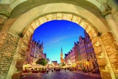 Hôtel de ville principal dans la vieille ville de Danzig, Pologne photographie stock libre de droits