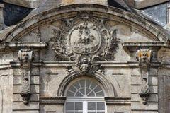 Hôtel-Dieu - Châteaudun - France. A sculptured blazon decorates the facade of the Hôtel-Dieu in Châteaudun (France). Un blason sculpté décore stock image