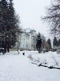 Hôtel en parc dans un jour neigeux dedans dedans Images libres de droits