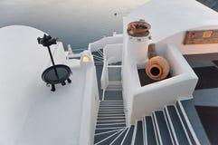 Hôtel homérique de poèmes dans Firostefani, Santorini Image stock
