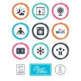 Hôtel, icônes de service d'appartement Internet de Wifi Images libres de droits
