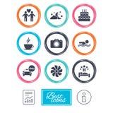 Hôtel, icônes de service d'appartement L'eau et parapluies Photographie stock