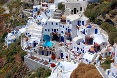 Hôtel Oia sur l'île de Santorini, Grèce Images libres de droits