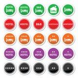 Hôtel, pension, CHAMBRE D'HÔTE avec les boutons ronds d'étoiles réglés Photographie stock