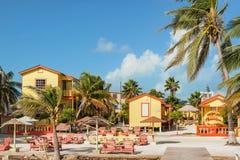 Hôtel tropical de paradis dans le matoir de Caye, Belize Photo stock