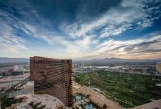 Hôtels de Vegas et casinos Wynn et bis modernes 24 heures sur 24 fonctionnants Photo libre de droits