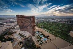 Hôtels de Vegas et casinos Wynn et bis modernes 24 heures sur 24 fonctionnants Photos libres de droits
