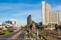 Hôtels et Convention Center d'entraînement de port à San Diego image libre de droits