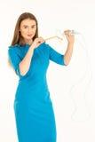 Hôtesse de l'air dans l'uniforme bleu Images stock