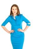 Hôtesse de l'air dans l'uniforme bleu Photos libres de droits