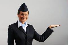 Hôtesse de l'air. Verticale Image stock