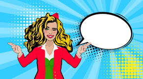 Hôtesse sexy comique de clin d'oeil de bande dessinée d'art de bruit illustration stock