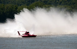 H1 Unlimited Racing. Madison, Indiana - July 5, 2014: J. Michael Kelly drives the U-1 Graham Trucking hydroplane during a testing session at the Madison Regatta Royalty Free Stock Photography