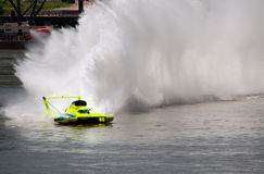 H1 Unlimited Racing. Madison, Indiana - July 5, 2014: Tom Topson drives the U-11 Peters and May hydroplane during a testing session at the Madison Regatta in Stock Images