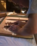 H13 Luthier at work. Luthier forms the inner supports of a new flamenco guitar Stock Photo