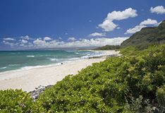 H16 North Shore Beach. A quiet summer afternoon on Oahu's North Shore, with a very small swell. With no surfers, the beach is free and open to beachcombers and royalty free stock photo