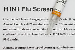 H1N1. Concept with a sample vaccine syringe Stock Photo