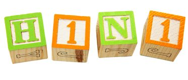 H1N1 in Alphabet Blocks Stock Images