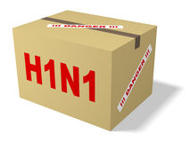 H1N1 box. A box marked H1N1 and danger Stock Photos