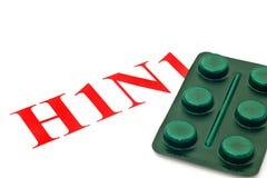H1N1 - Closeup of green pills Royalty Free Stock Photo