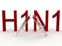 H1N1 con le due siringhe Fotografia Stock Libera da Diritti