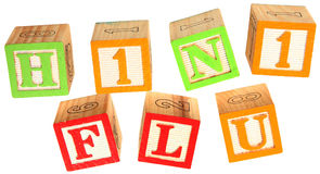 H1N1 Flu in Alphabet Blocks. H1N1 FLU in colorful alphabet blocks over white Royalty Free Stock Images