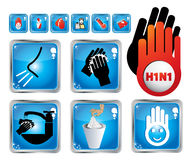 H1N1 Illustration set Stock Photo