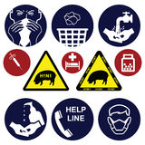 H1N1 swine flu. Sign collection individually layered Royalty Free Stock Photo