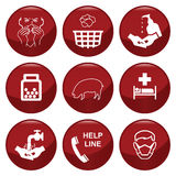 H1N1 swine flu. Icon collection individually layered Royalty Free Stock Image