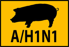 H1N1 Swine Flu Hazard Warning Sign Stock Photos
